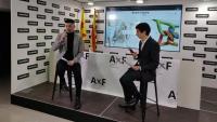 Àlex de Azuaje i Albert Juanico, d'Anem x Feina, ahir en la presentació del projecte