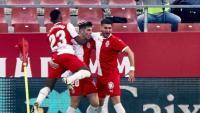 L'alegria després d'un dels gols de Valery