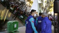 Sergio Busquets, camí de l'autocar del Barça