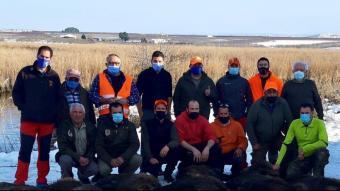 Caçadors que han participat en la batuda de senglars a l'entorn d'Utxesa