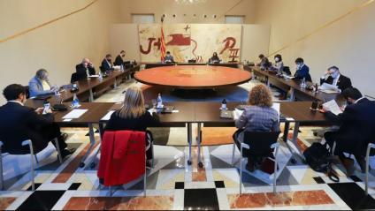 Reunió d'ahir del govern, que de seguida va conèixer la decisió del TSJC de mantenir el 14-F