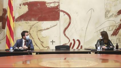 Pere Aragonès i Meritxell Budó en la reunió del consell executiu