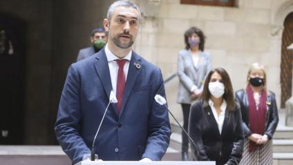 El conseller d'Exteriors, Bernat Solé, en compareixença al Palau de la Generalitat