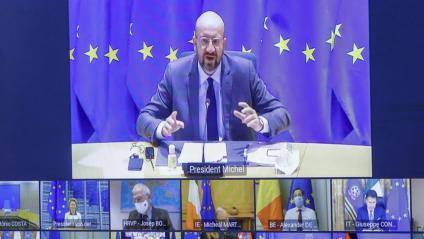 Charles Michel parlant ahir per videoconferència amb els líders de la Unió Europea durant la cimera virtual
