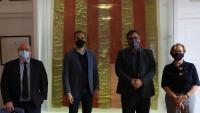 Els quatre alcaldes del sud del Baix Empordà, –d'esquerra a dreta– Jordi Soler, Carles Motas, Maurici Jiménez i Lourdes Fuentes, ahir, després de la reunió