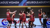 L'esclat d'alegria de les jugadores de l'Spar Girona divendres al Palazzetto Livio Romare