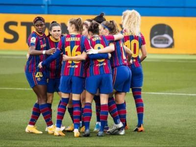 Les jugadores del Barça femení celebrant un gol