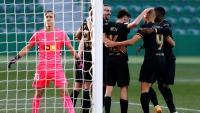 Els jugadors del Barça celebren el primer gol a Elx