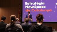 El conseller de Polítiques Digitals, Jordi Puigneró durant l'acte de signatura dels contractes per llançar els primers nanosatèl·lits del Govern