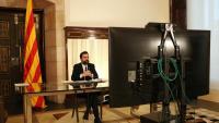El president del Parlament, Roger Torrent, durant la seva intervenció telemàtica