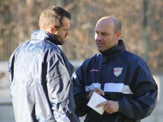 Gabri , a la dreta, i Albert Jorquera (esquerra) durant un entrenament amb l'Andorra