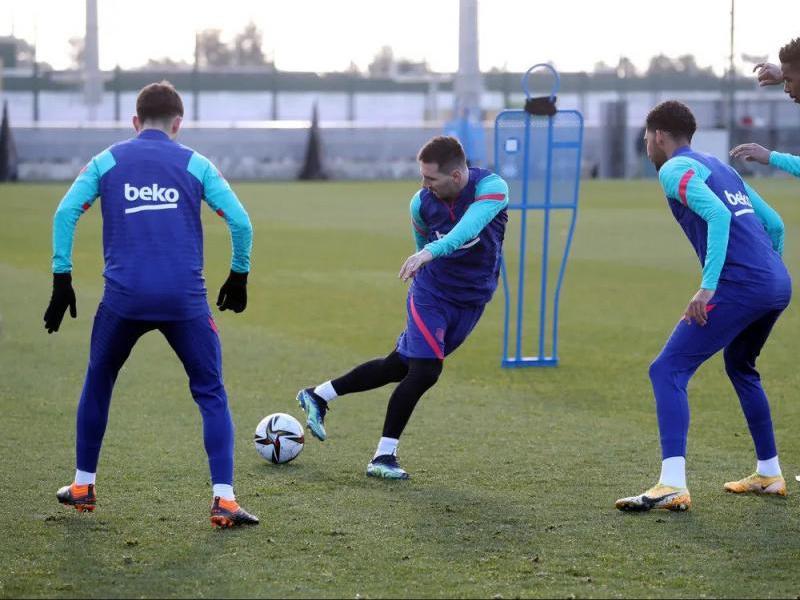Messi durant l'entrenament d'ahir