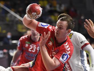 Sander Sagosen , líder en gols, assistències i exclusions de la selecció de Noruega