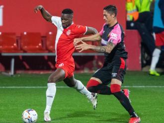 Mamadou Sylla, durant el duel de la primera volta contra el Mallorca