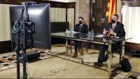 El president del Parlament, Roger Torrent, i el conseller d'Acció Exterior, Relacions Institucionals i Transparència, Bernat Solé, durant la reunió telemàtica de la taula de partits