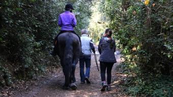 L'Ona Martínez damunt d'un cavall en un bosc de Sant Cugat del Vallès