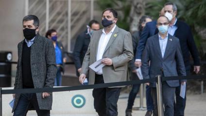 Els nou presos polítics en un acte a favor de l'amnistia al febrer a Barcelona