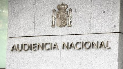 Detall de la façana de l'Audiencia Nacional espanyola, a Madrid