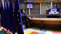 El president del Consell Europeu segueix una videoconferència