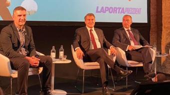 Joan Laporta, amb Rafa Yuste, Xavier Budó i Jordi Mompart