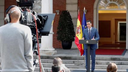 El president del govern espanyol, Pedro Sánchez, en roda de premsa aquest divendres a la Moncloa