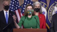 La presidenta de la Cambra de Representants, Nancy Pelosi, en una conferència de premsa al Capitoli, a Washington