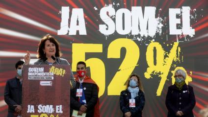 La presidenta de l'ANC, Elisenda Paluzie, en un acte el 28 de febrer per reclamar un govern independentista