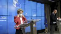 La presidenta de la CE, Ursula von der Leyen , amb la mascareta, en una compareixença el mes passat a Brussel·les