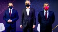 Els tres candidats en el debat de les penyes