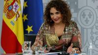 La portaveu del Govern i ministra d'Hisenda, María Jesús Montero, en la roda de premsa posterior al Consell de Ministres celebrat aquest dimarts