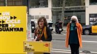Eulàlia Reguant i Dolors Sabater (CUP), en una roda de premsa el 12 de febrer passat