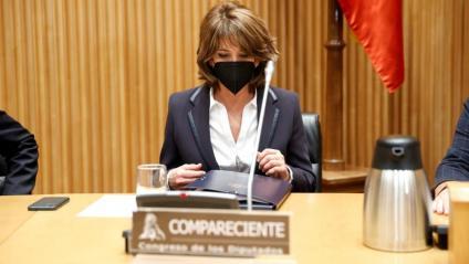 La Fiscal General de l'Estat, Dolores Delgado, durant la seva compareixença en la Comissió de Justícia del Congrés