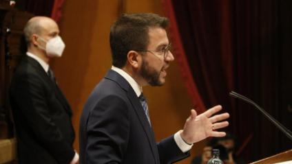 Pere Aragonès durant la seva compareixença aquest dimecres al Parlament