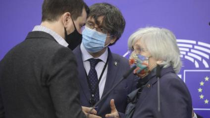 Comín, Puigdemont i Ponsatí, en un roda de premsa d'ara fa uns dies