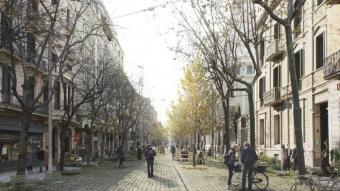 Una imatge de com podria quedar el carrer Consell de Cent entre els carrers Pau Claris i Roger de Llúria