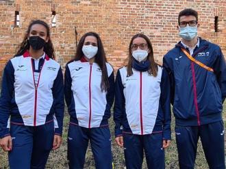Maria Vicente, Xènia Benach, Esther Guerrero i Adel Mechaal , fotografiats a Torun