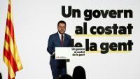 Pere Aragonès en un moment de la conferència que va oferir al vespre a l'Espai Serrahima de Barcelona sota el títol 'Un govern al costat de la gent'