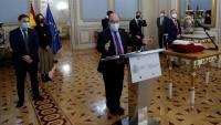 El ministre Miquel Iceta, en l'acte de presa de possessió del seu equip, amb el vallesà Víctor Francos com a nou secretari d'estat de Política Territorial