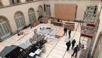 Preparatius de l'Auditori del Parlament, on es farà la sessió constituent de la cambra divendres vinent per poder encabir tots els diputats