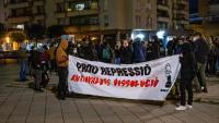 La concentració a Girona,  a la plaça del Lleó, ahir,