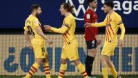 Els jugadors del Barça celebren el gol de Jordi Alba