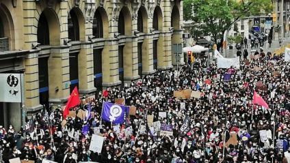 Manifestació d'estudiants ahir al matí a Barcelona