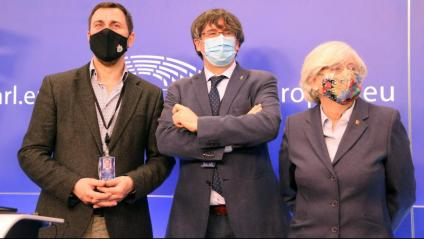 Toni Comín, Carles Puigdemont i Clara Ponsatí, al Parlament Europeu