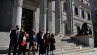 Bel (PDeCAT), Rufián (ERC), Nogueras (Junts) i Vehí (CUP) en la presentació de la llei d'amnistia