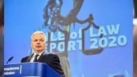 L'eurocomissari de Justícia Didier Reynders durant la roda de premsa de presentació de l'informe sobre l'estat de dret a Brussel·les el 30 de setembre del 2020