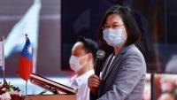 La presidenta de Taiwan, Tsai Ing-wen, ahir en la presentació d'un nou vaixell de guerra a Kaonhsiung