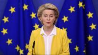 Ursula von der Leyen, en la roda de premsa d'ahir a Brussel·les