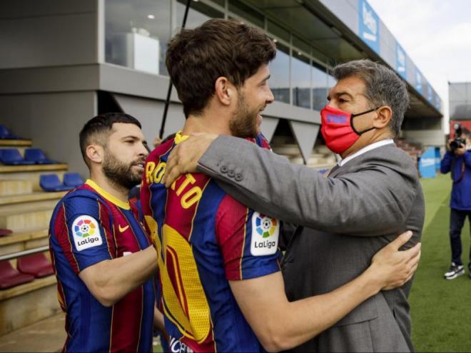 Sergi Roberto i Laporta, ahir a la Ciutat Esportiva