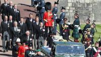El fèretre del duc d'Edimburg, abans d'entrar a la capella de Sant Jordi a Windsor