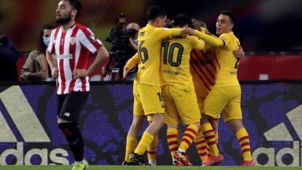 La plantilla del Barça celebrant un dels gols